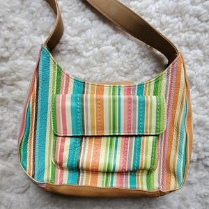 Faux Fossil Striped Leather Shoulder Bag